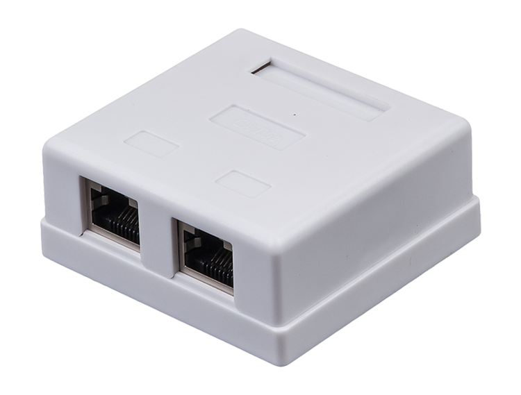 RJ45 network Cat.5E PCB Jack UTP Wall Mounted electrical Box double ports rj45 surface box